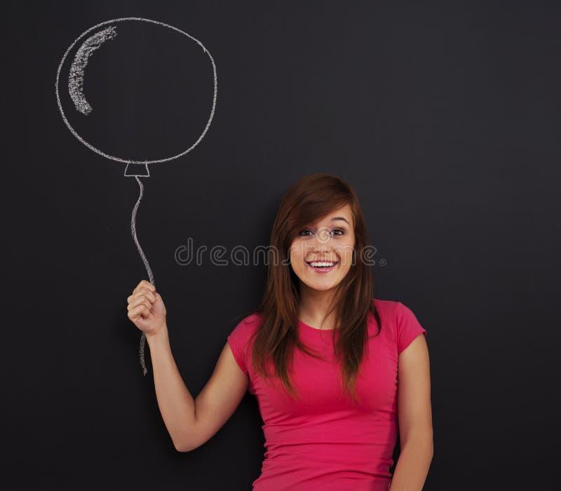 Frau mit Ballon stockfotos