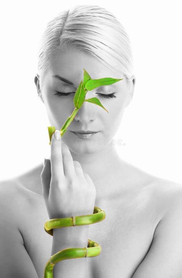 Frau mit Bambusanlage stockbilder
