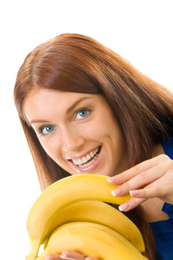 Frau mit Banane stockbilder