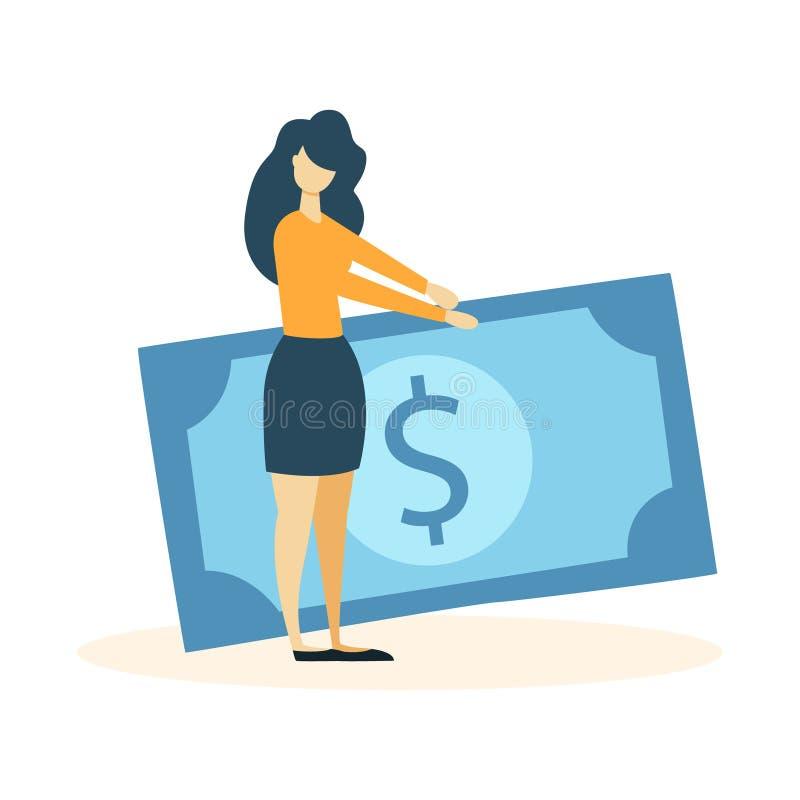 Frau mit Banknote vektor abbildung