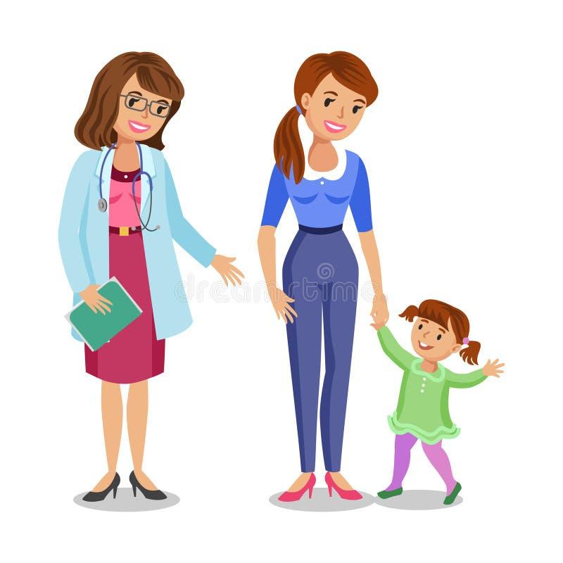 Frau mit Besuchsdoktor, Mutter und Tochter des kleinen Mädchens stock abbildung