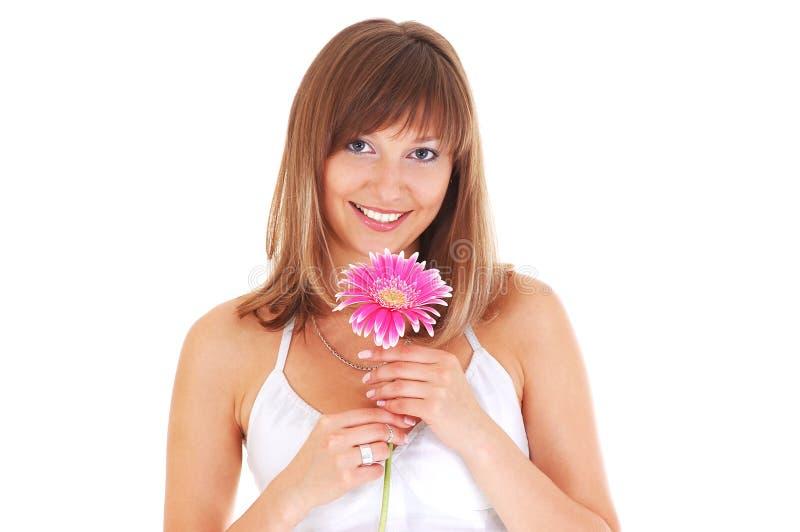 Frau mit Blume lizenzfreies stockbild