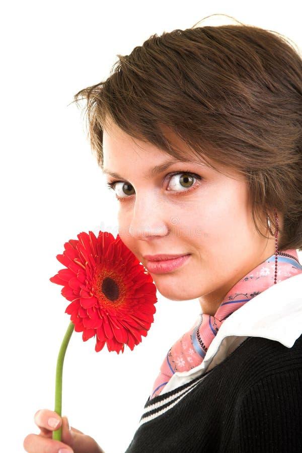 Frau mit Blume lizenzfreie stockfotografie
