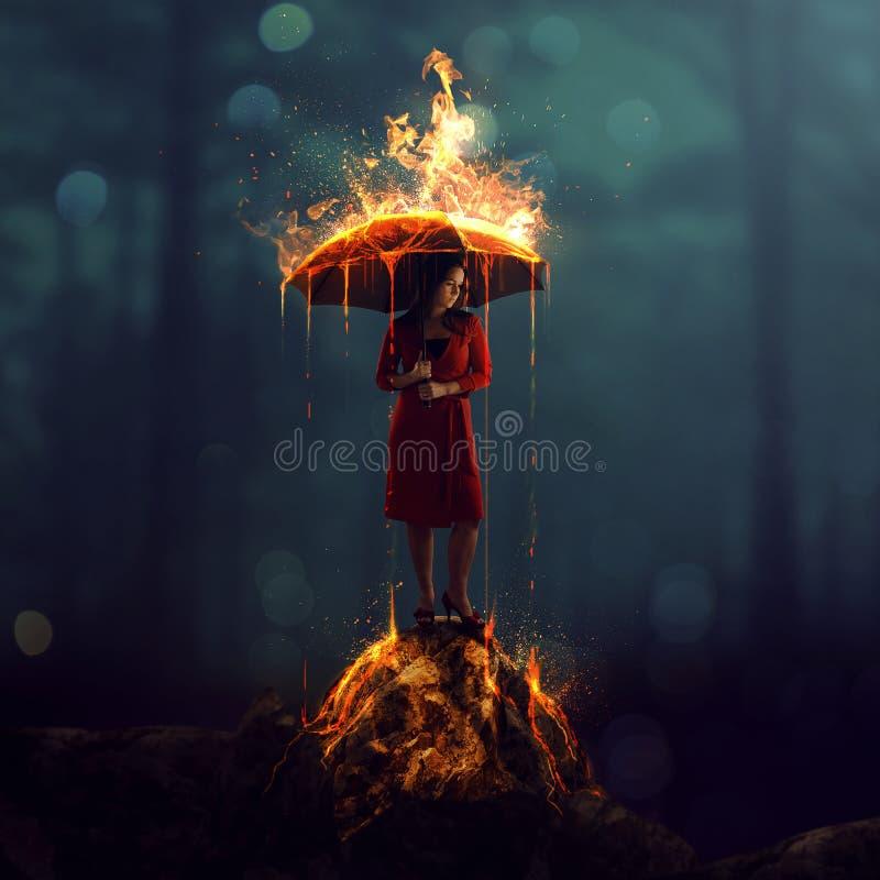 Frau mit brennendem Regenschirm stockbilder