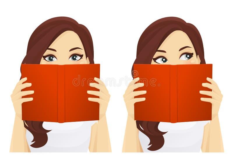Frau mit Buch lizenzfreie abbildung