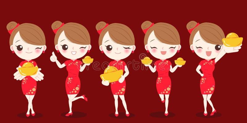 Frau mit chinesischem neuem Jahr lizenzfreie abbildung