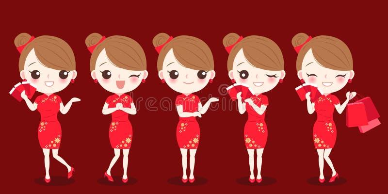 Frau mit chinesischem neuem Jahr vektor abbildung
