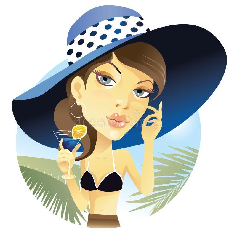 Frau mit Cocktail lizenzfreie abbildung