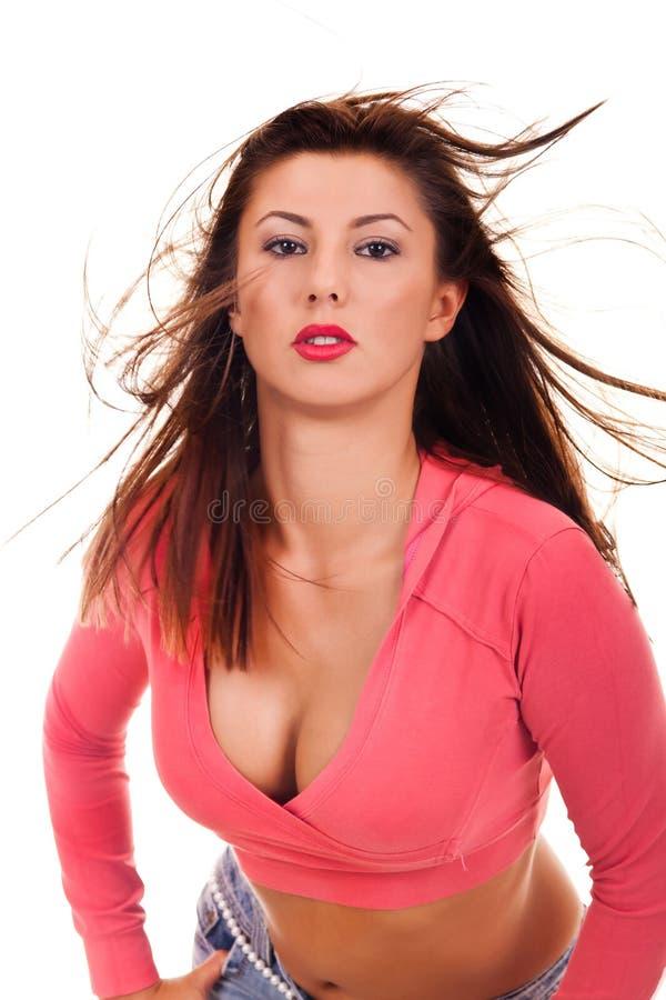 Frau mit dem ausgezeichneten Haar stockfoto