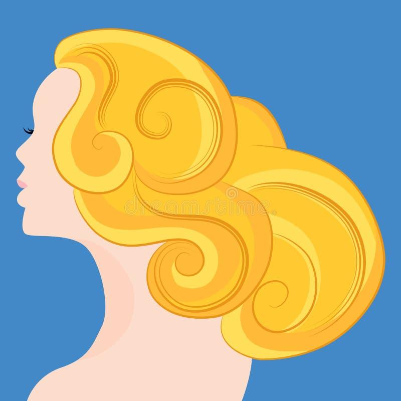 Frau mit dem blonden Haar lizenzfreie abbildung