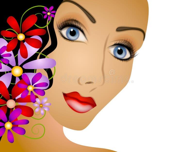 Frau mit dem Blumen-Haar vektor abbildung