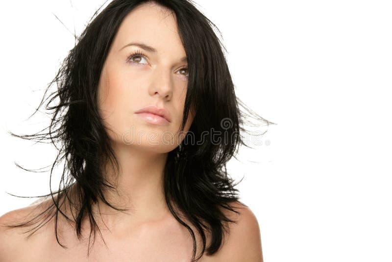 Frau mit dem Flugwesenhaar stockfoto