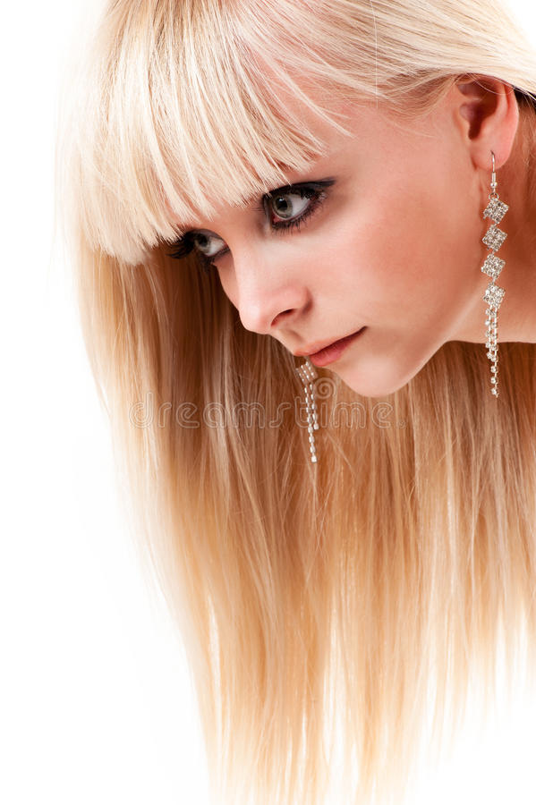 Frau mit dem gesunden langen Haar lizenzfreie stockfotografie