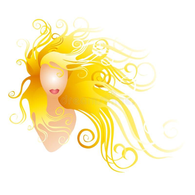 Frau mit dem langen blonden flüssigen Haar stock abbildung