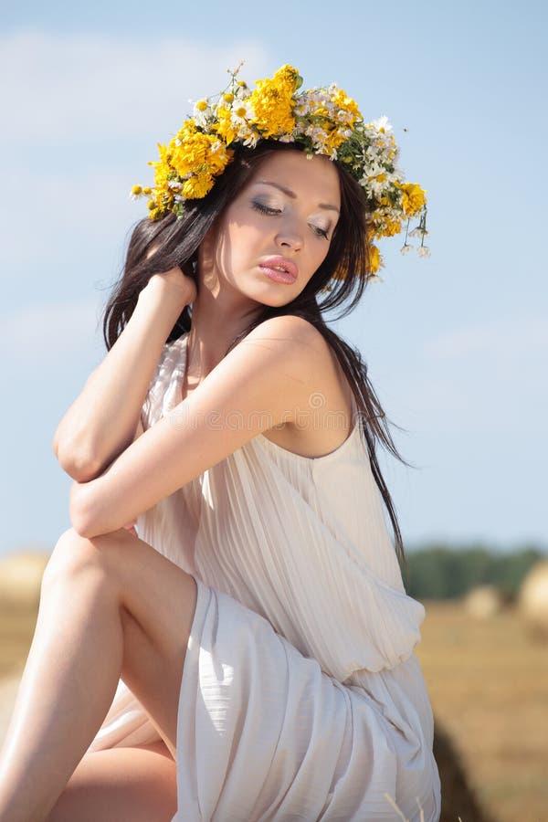 Frau mit dem langen braunen Haar der Schönheit, das auf einem Gebiet aufwirft lizenzfreie stockfotografie