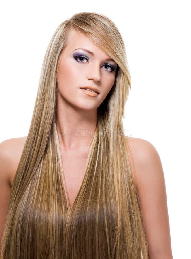 Frau mit dem langen geraden Haar der Schönheit stockfotografie