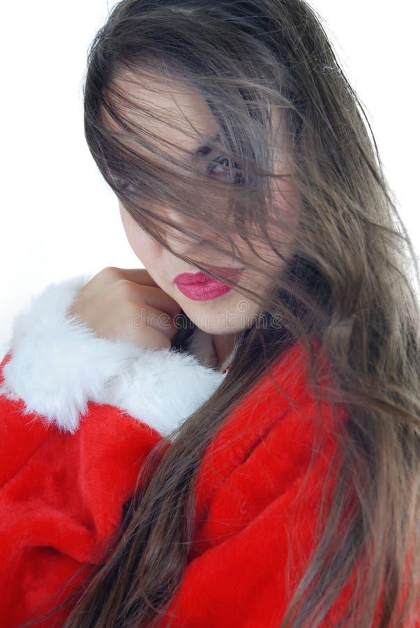 Frau mit dem langen Haar im Sankt-Kostüm lizenzfreie stockfotografie