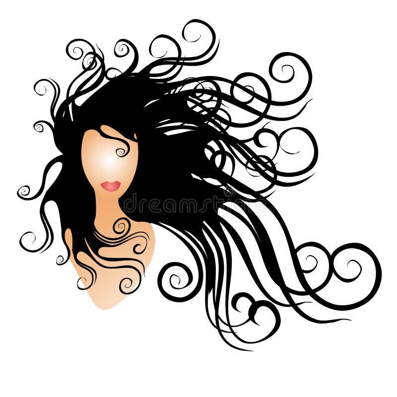 Frau mit dem langen schwarzen flüssigen Haar stock abbildung