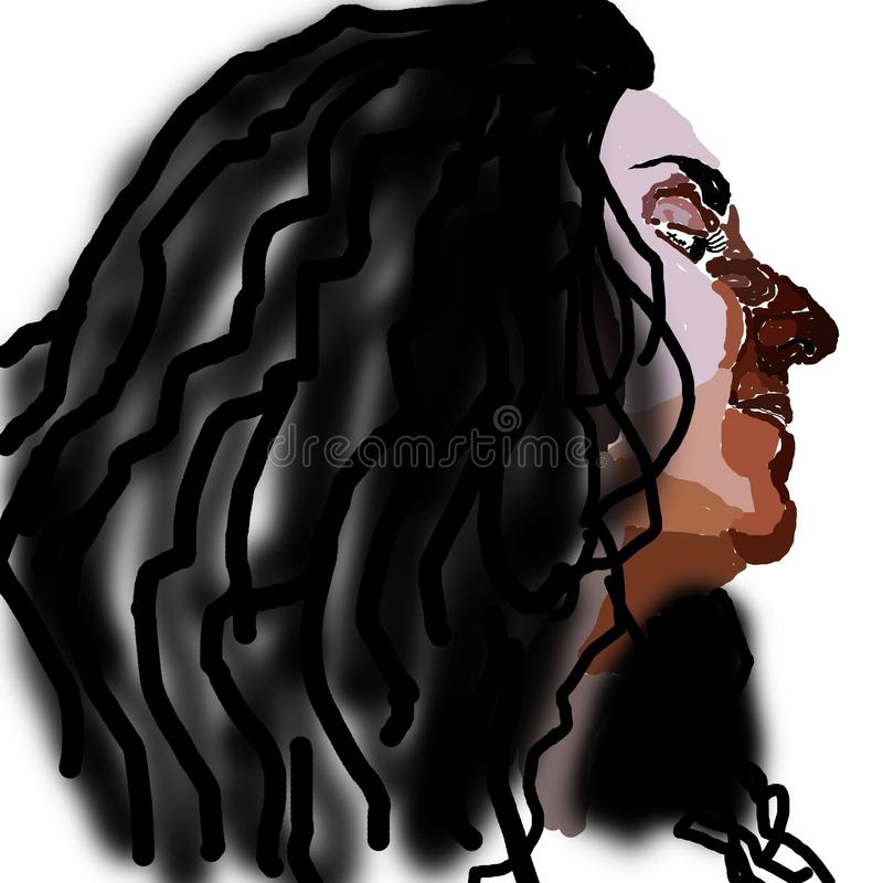 Frau mit dem schwarzen curvy Haar vektor abbildung