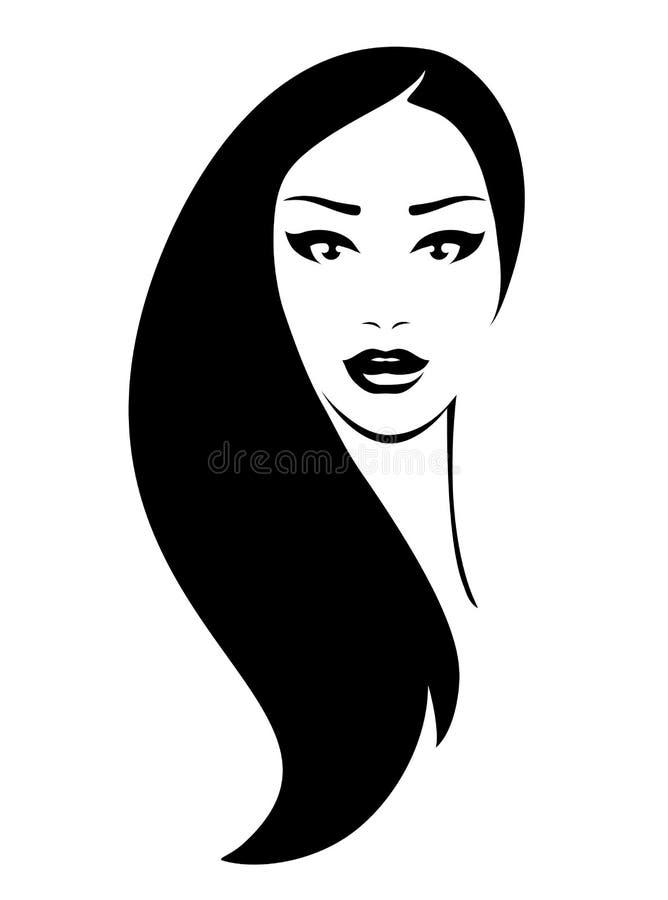 Frau mit dem schwarzen Haar stock abbildung
