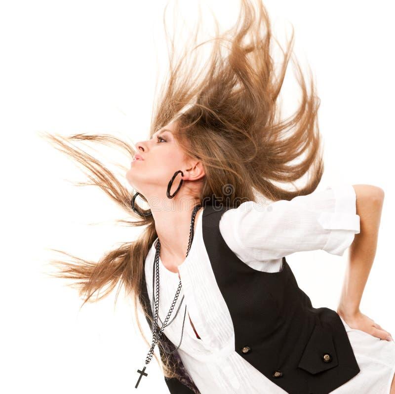 Frau mit dem uncurled Haar stockfotografie