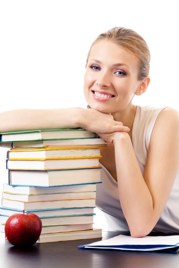 Frau mit den Büchern, getrennt lizenzfreies stockfoto