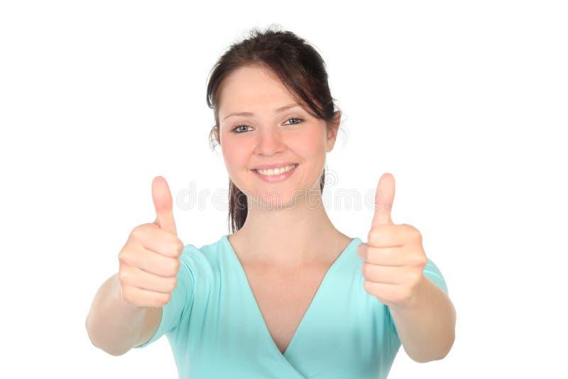 Frau mit den Daumen oben lizenzfreie stockfotografie