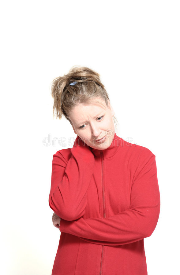 Frau mit den Stutzenschmerz lizenzfreie stockfotografie