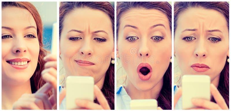 Frau mit den verschiedenen Ausdrücken, die am intelligenten Telefon simsen lizenzfreie stockfotografie