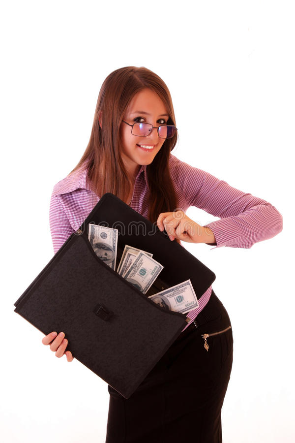 Frau mit Dollar stockfotografie