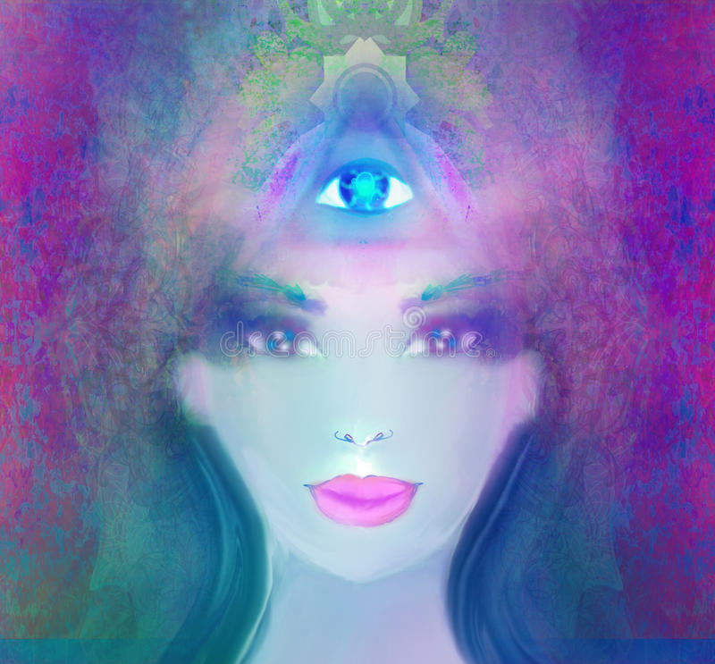 Frau mit drittem Auge stock abbildung