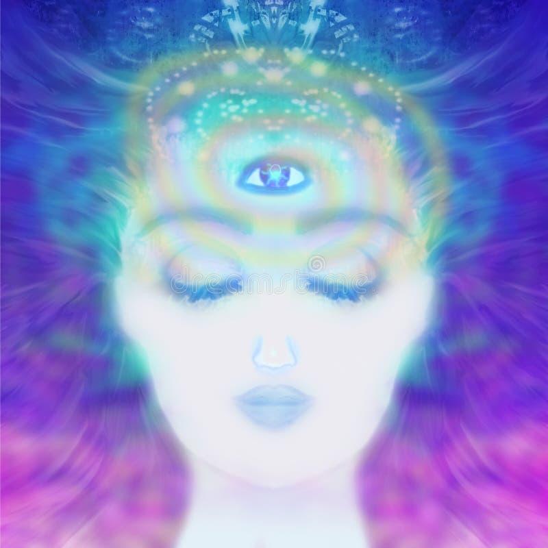 Frau mit drittem Auge, lizenzfreie abbildung