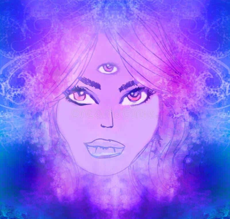 Frau mit drittem Auge, psychische übernatürliche Richtungen stock abbildung