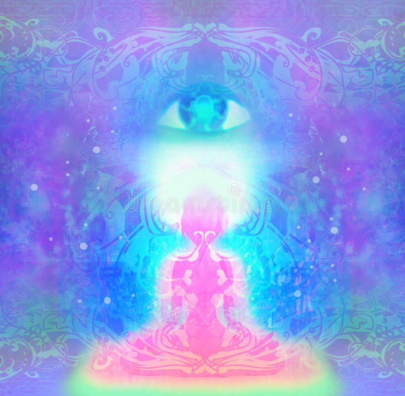 Frau mit drittem Auge, psychische übernatürliche Richtungen vektor abbildung