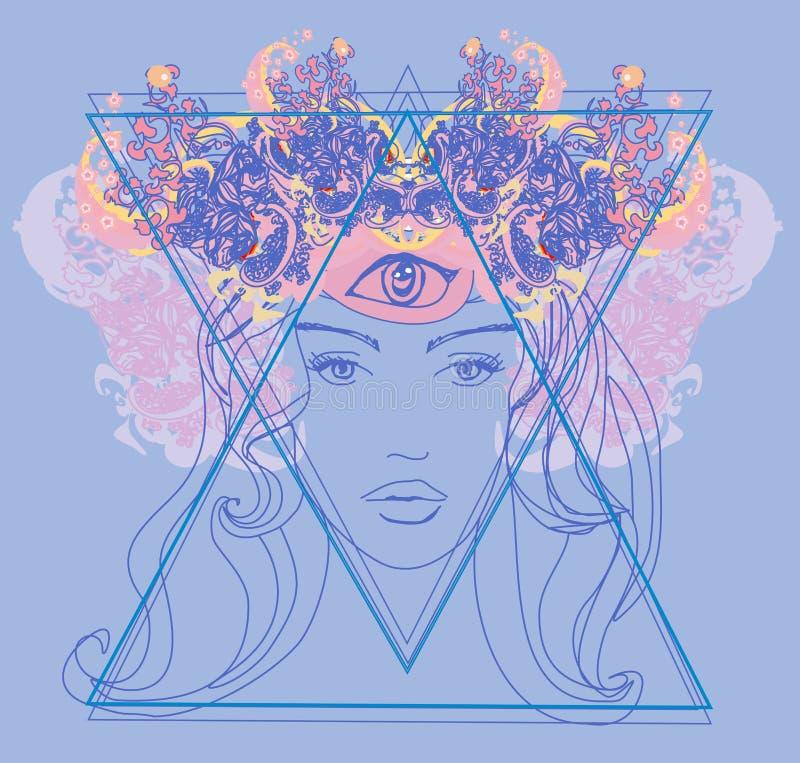 Frau mit drittem Auge, psychische übernatürliche Richtungen lizenzfreie abbildung