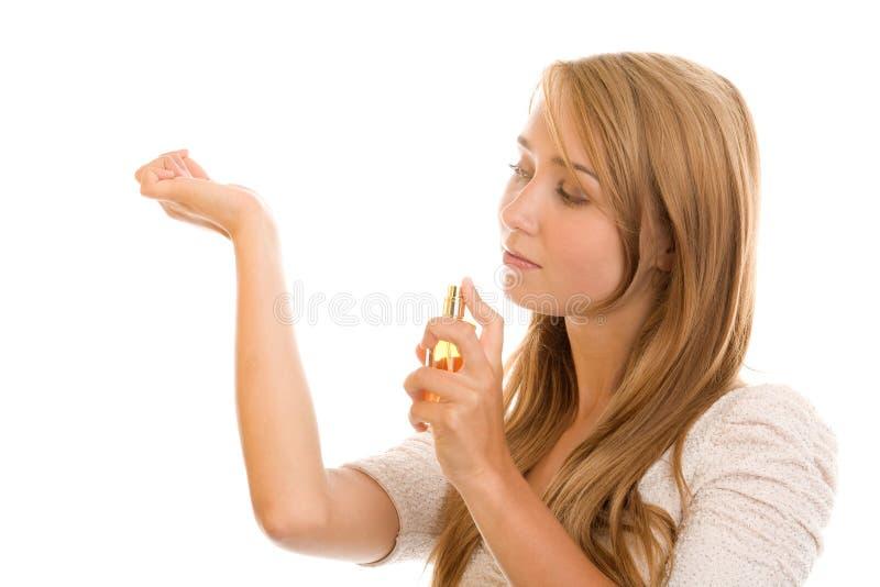 Frau mit Duftstoff lizenzfreie stockfotos