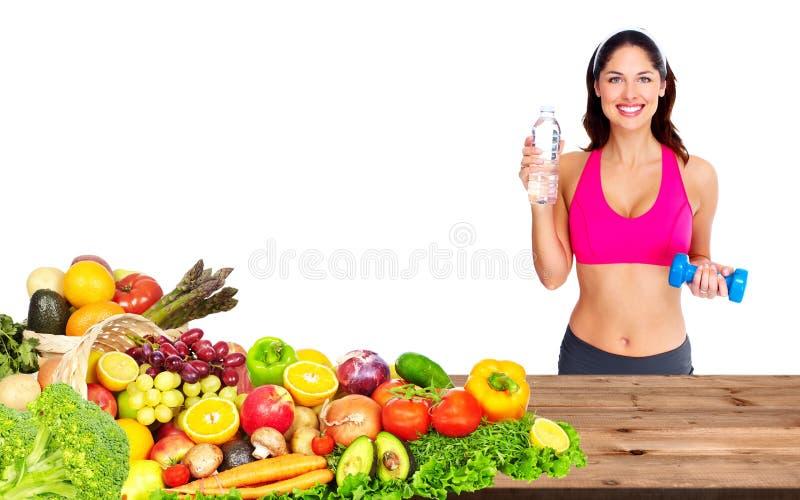 Frau mit Dummkopf und Wasser lizenzfreie stockbilder