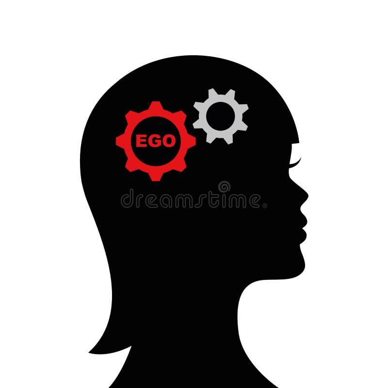 Frau mit Ego in seinem Hauptschattenbild vektor abbildung