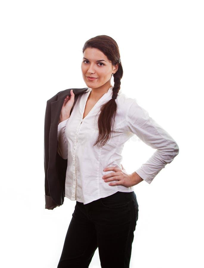Frau mit einem Anzug stockbild. Bild von jacke, erfolg