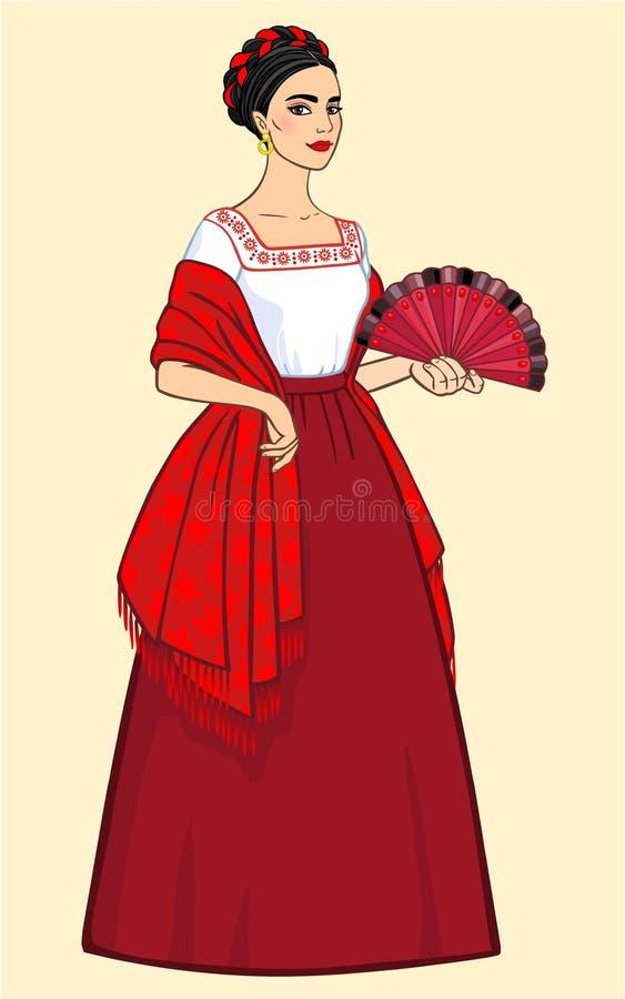 Frau mit einem Fan in der alten Kleidung vektor abbildung