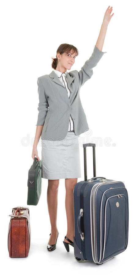 Frau mit einem Gepäck lizenzfreie stockfotos