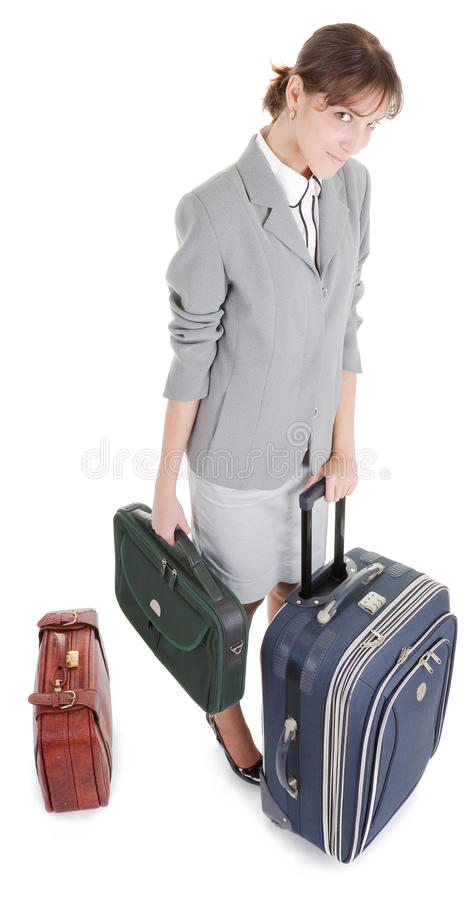 Frau mit einem Gepäck stockfoto
