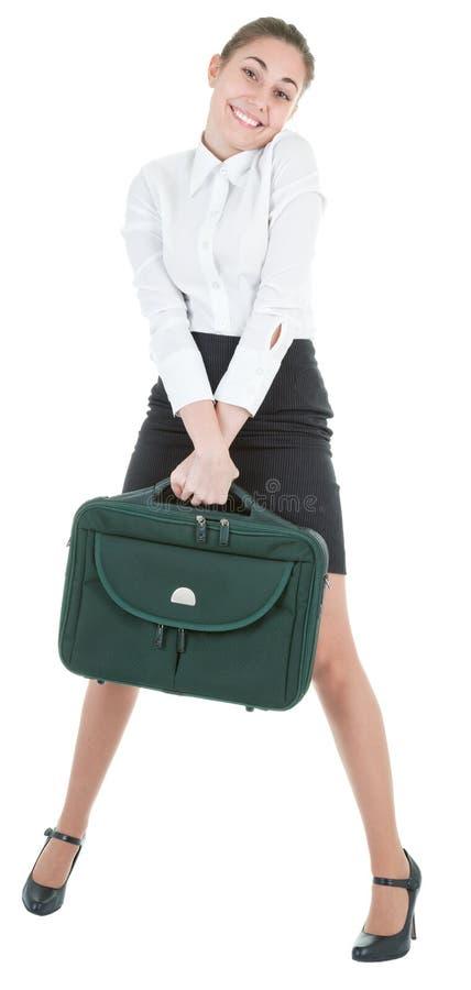 Frau mit einem Gepäck lizenzfreies stockfoto