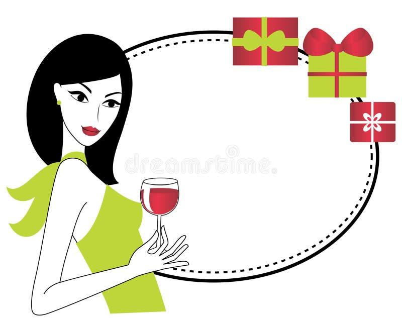 Frau mit einem Glas Wein stock abbildung
