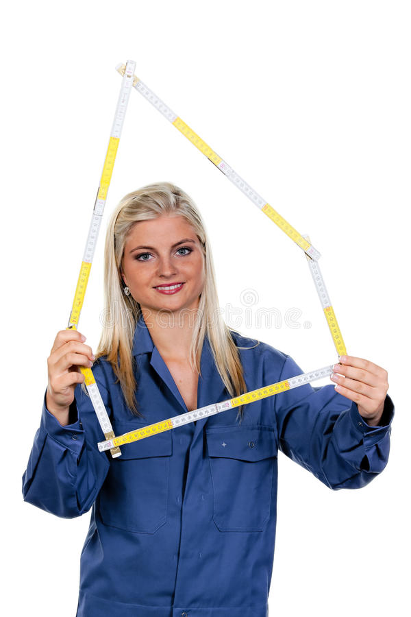 Frau mit einem Hilfsmittelmechaniker stockbilder