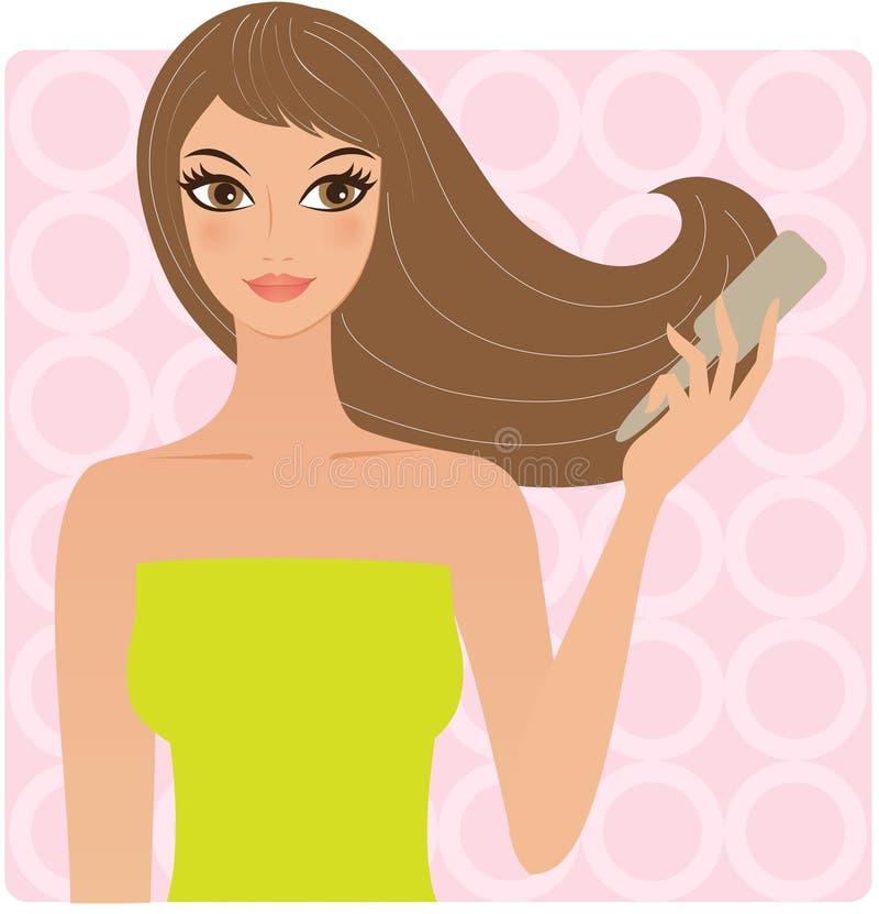 Frau mit einem Kamm lizenzfreie abbildung