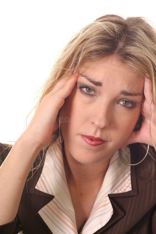 Frau mit einem migrane lizenzfreies stockbild