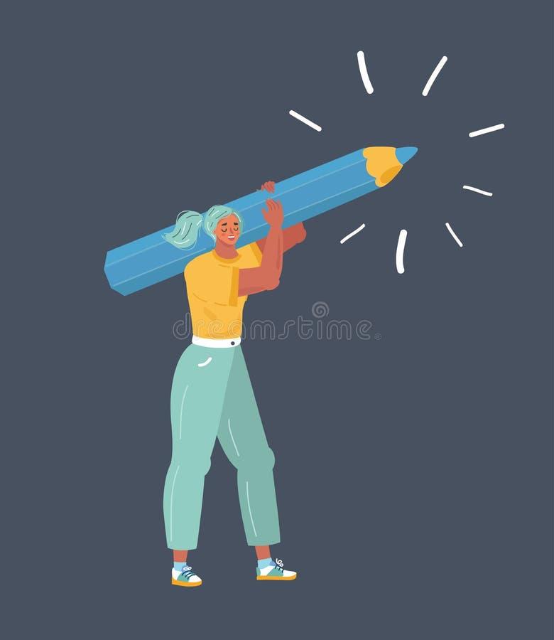 Frau mit einem riesigen Bleistift auf ihrer Schulter lizenzfreie abbildung
