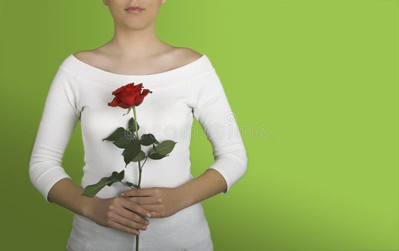 Frau mit einem Roten stieg lizenzfreie stockbilder