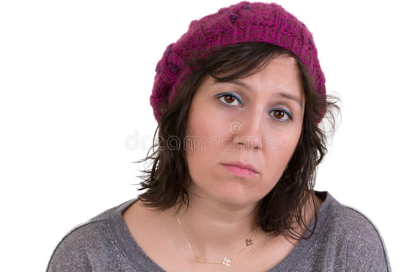 Frau mit einem traurigen jämmerlichen Ausdruck stockbild